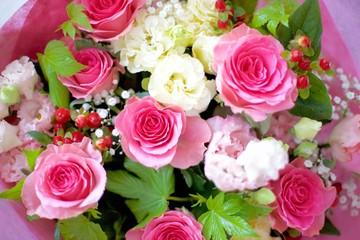 花束 バラ ピンク