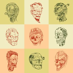 Set of nine drawn image with the zombie skull.