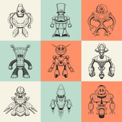 Set of nine vector illustrations with cartoon robots.