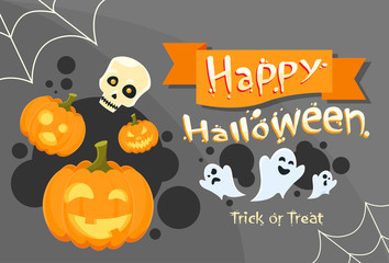 Happy Halloween Banner Invitation Card Ghost Pumpkin Face Web
