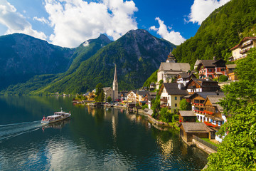 Hallstatt town in summer, Alps, Austria