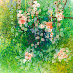 Watercolor painting apple blossom flowers and soft green leaves. Yellow-green color texture on grunge paper background. Vintage painting flowers style in soft color and blur background for your design