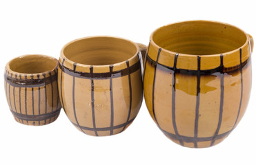 Three barrel-shaped cup on white background