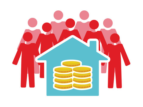 Vector image of people around a house with money