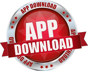 modern red app download sign