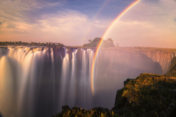 A sunset at the Victoria Falls