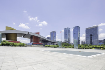 empty square with a landmark of shenzheng in china