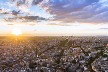 Aerial view of Eiffel Tower at sunset