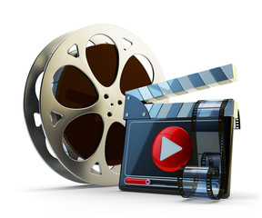 Media player and video clips production concept, film reel and clapper board with play button isolated on white background