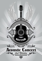retro poster with a guitar for the concert billboard