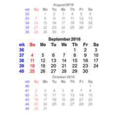 Vector illustration 2016 calendar grid. Month on a blurred background of previous and subsequent months. All characters on a transparent background can be placed on any image. Week starts on Sunday.