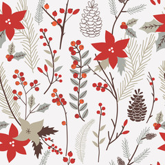 Hand drawn seamless vector pattern with winter flowers.