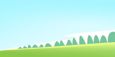 Green Meadow and Forest on a Calm Sunny Summer Day. Digital background raster illustration.