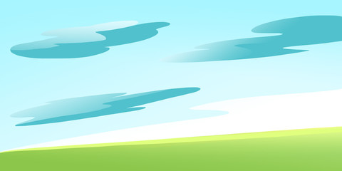 Green Meadow on a Calm Sunny Summer Day with some Clouds in the Sky. Digital background raster illustration.