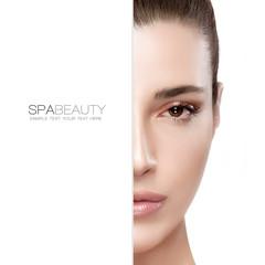 Beauty and Skincare concept. Half Face Portrait