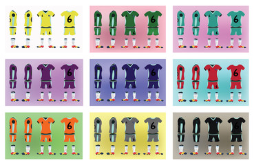 Football Soccer Team Sportswear Uniform. Digital background vector illustration. Stylish design for t-shirts, shorts and boots.