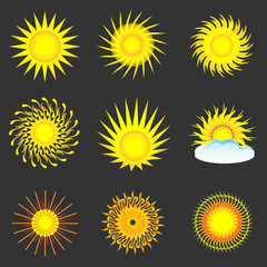 Sun colorful icon set