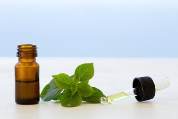 Basil essential oils in bottles
