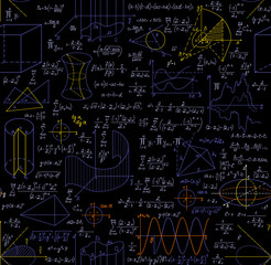 """Mathematical vector seamless pattern with figures, formulas, plots, geometry tasks and other calculations, """"handwritten on the copybook paper"""", different colors"""