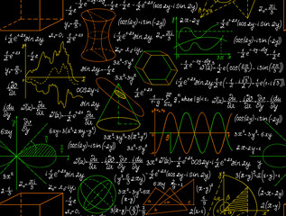 """Mathematical vector seamless pattern with figures, formulas and other calculations, """"handwritten on the copybook paper"""", different colors. Endless math texture. You can use any color of background"""