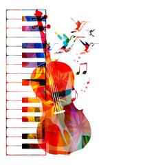Colorful violoncello design with hummingbirds