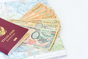 Thailand passport for tourism with Annapurna Region Nepal map and Nepali notes.