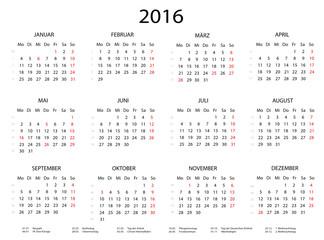 Jahreskalender 2016 quer mit Feiertagen
