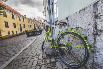 Old bicycle on the streets of Tallinn