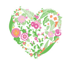 Vector wedding colorful flower heart for your design.