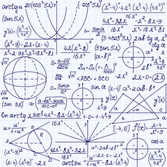 """Mathematical vector seamless pattern with geometrical figures, trigonometry plots and equations, """"handwritten on the grid copybook paper"""". Endless math texture"""