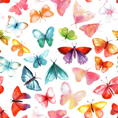 Seamless pattern with many watercolouur butterflies of various colours and shapes