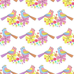 Fond de hotte en verre imprimé Hibou Seamless pattern with birds and flowers on a white background