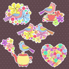 Fond de hotte en verre imprimé Hibou beautiful Stickers with birds, and a cup of tea on a purple background with flowers