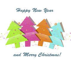 Photo sur Aluminium Hibou Beautiful Christmas card with three Christmas trees