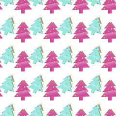 Fond de hotte en verre imprimé Hibou Christmas seamless pattern with Christmas trees on a white background