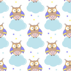 Photo sur Aluminium Hibou Seamless pattern with clouds and owls on a white background