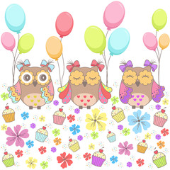 Beautiful pattern card with owls, flowers, cakes and balloons on a white background
