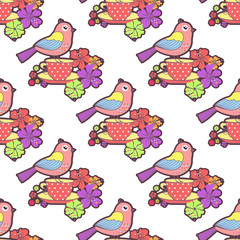 Seamless pattern with birds, cup and flowers on a white background