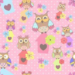 Photo sur Aluminium Hibou Beautiful seamless pattern with cute owls and birdhouse