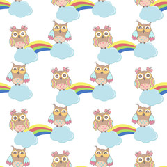 Seamless pattern with clouds, rainbow owls on a white background