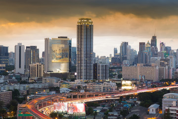 Printed roller blinds Beijing Central business area with freeway at front before sunset, Bangkok Thailand