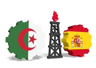 algeria and spain flags on gears, gas rig between them