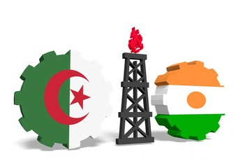 algeria and niger flags on gears, gas rig between them