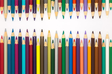 Wooden pencils with multiple color, on white background
