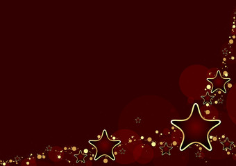 Red Christmas Background with Stars - Xmas Illustration, Vector