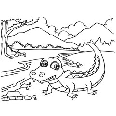 Crocodile coloring pages vector