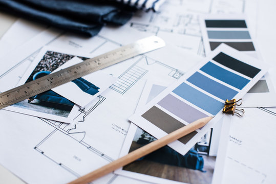 Interior designers working table