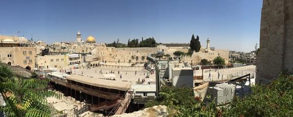 Gerusalemme, panoramica della Spianata delle Moschee e del Muro del Pianto