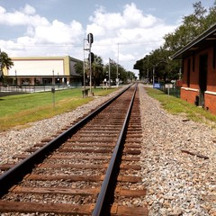 Train tracks through town