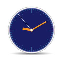 Round clock with blue clock-face